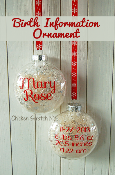 Decorate with memories by creating a special birth information ornament with your little ones details