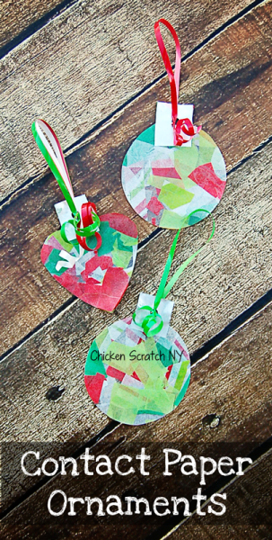 Get the kids involved with the decorating this holiday season with simple contact paper ornaments (no glue or glitter required!)