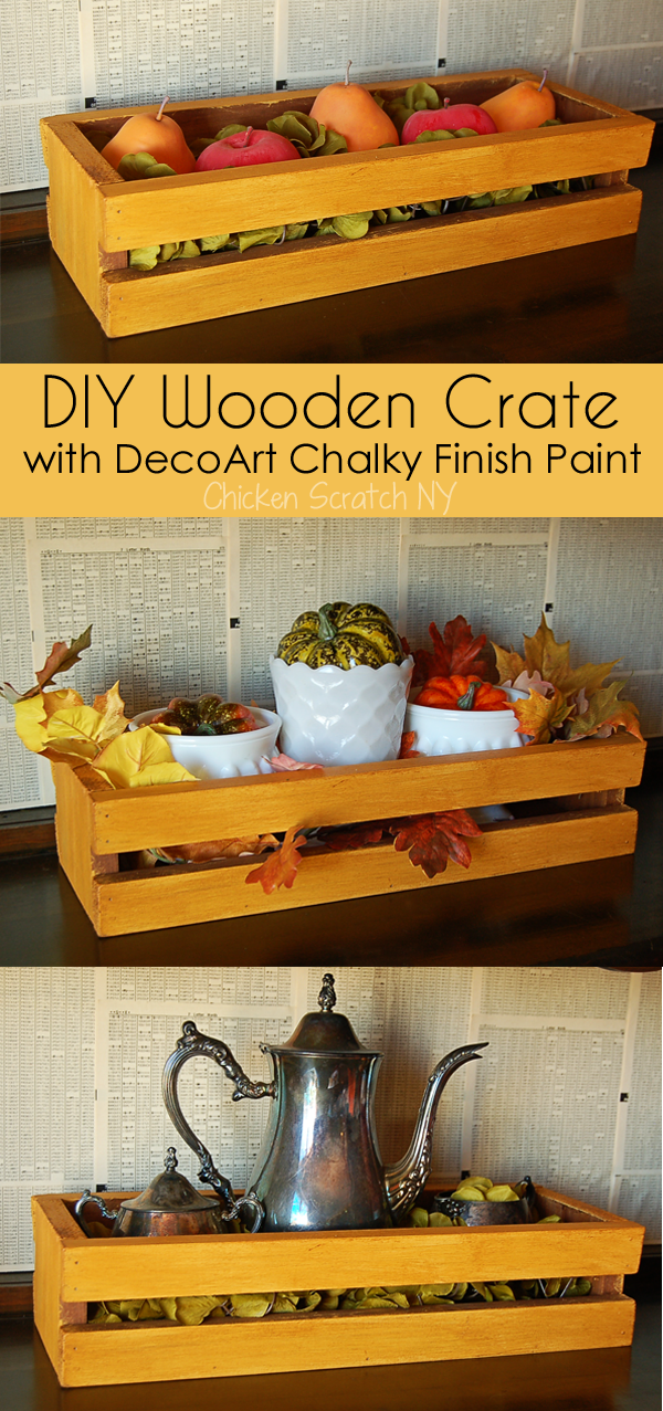 Experiment with layering wood stain, paint and wax with this DIY Wooden Crate. The final product is perfect for the Thanksgiving Table