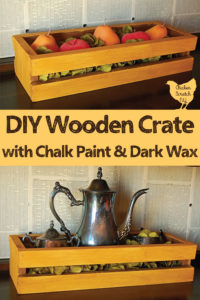 handmade wooden crate with mustard yellow chalk paint and golden brown wax finish decorated for fall