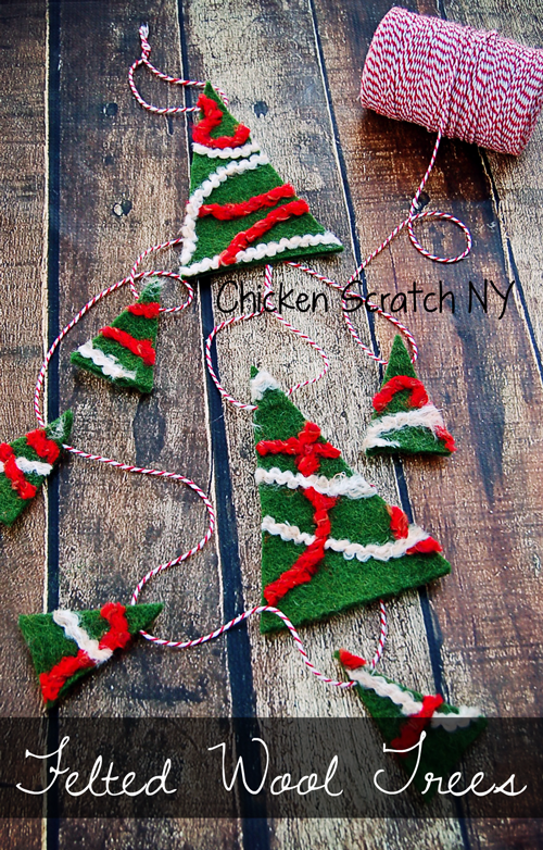 Craft yourself a forest of felted wool Christmas trees using scraps of yarn and a sheet of wool craft felt