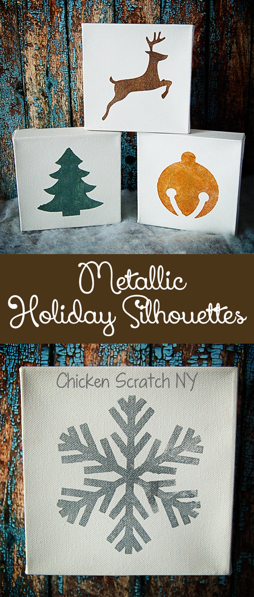 Transform blank canvases into seasonal works of art with metallic paint and simple stenciled holiday silhouettes