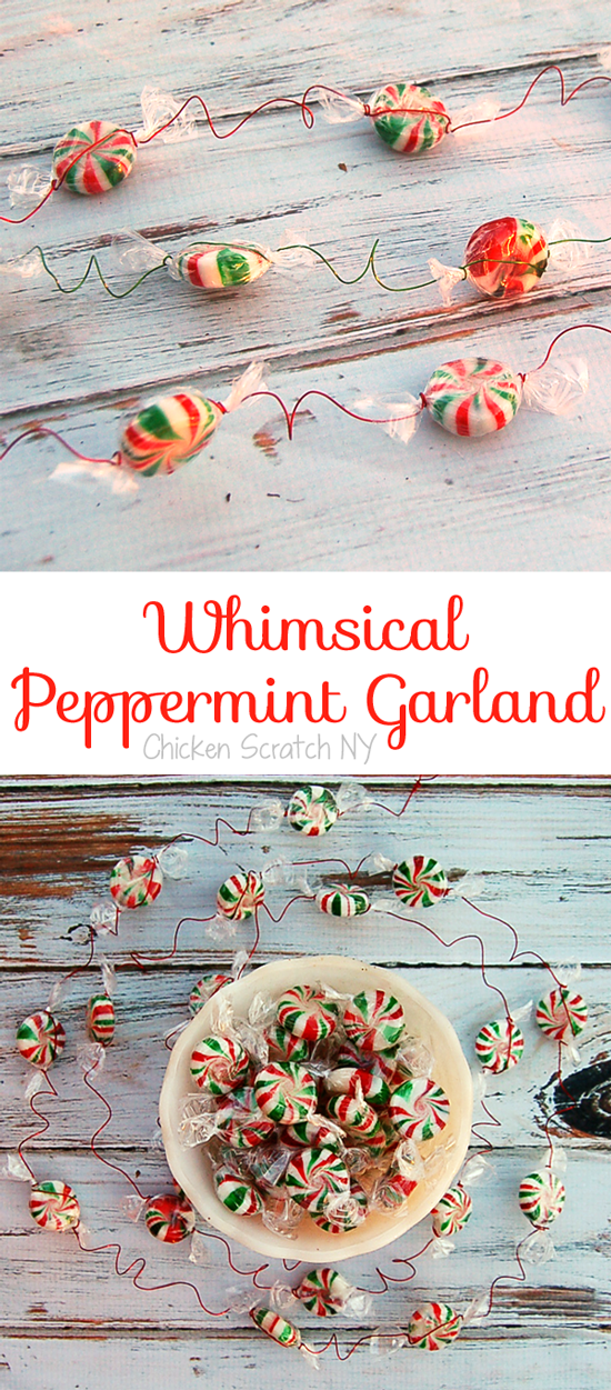 A fast and easy holiday garland using craft wire, peppermints and a spoon