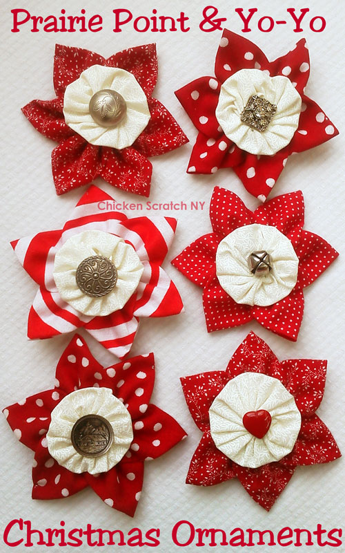 Christmas Decorations Made With Fabric In    Squares