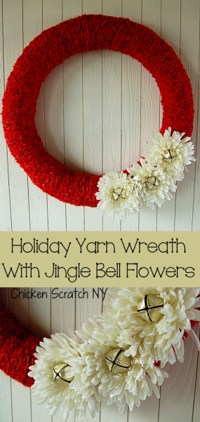 Decorate a festive holiday yarn wreath with reassembled jingle bell flowers