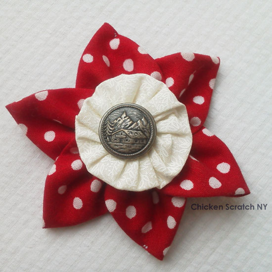 Turn scraps into pretty fabric ornaments combining prairie points, yo-yos and fancy buttons