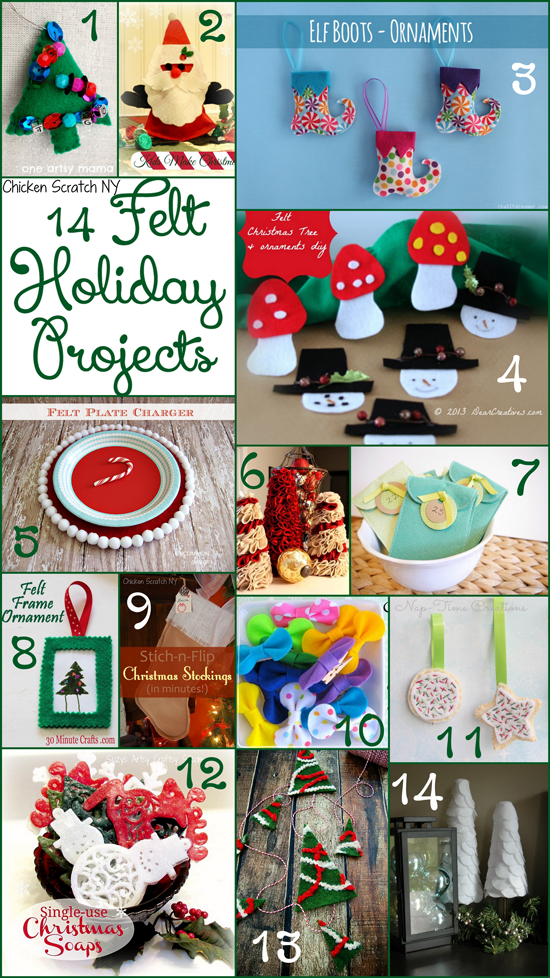 14 Holiday Felt projects from tree trimmings to table top decorations