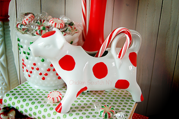Fancy up some old milk glass for the holidays with simple glass paint
