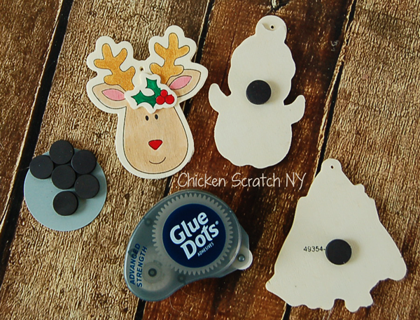 Jazz up your fridge with hand painted Holiday Magnets made from wooden craft store ornaments