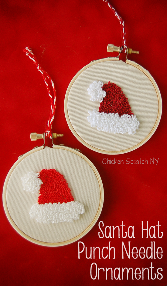picture about Free Printable Punch Needle Patterns named Santa Hat Punch Needle Ornament