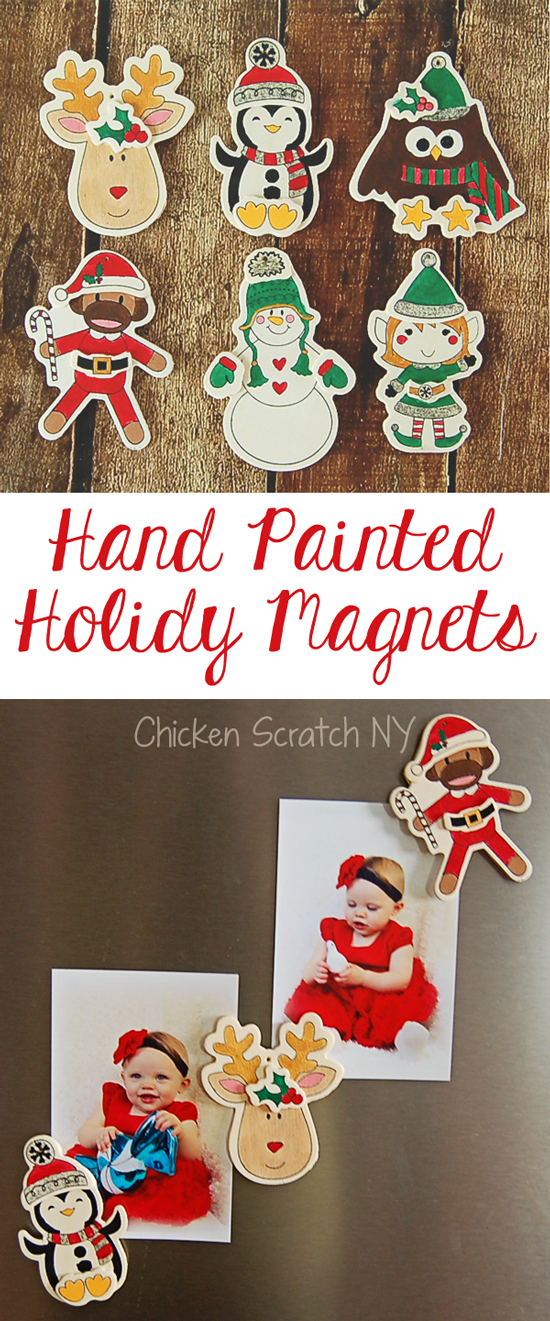 six hand painted Christmas ornaments turned into holiday magnets
