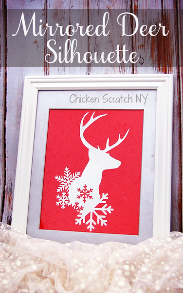 Use an vinyl stencil and looking glass spray paint to craft a winter deer mirror perfect to reflect the twinkling holiday lights