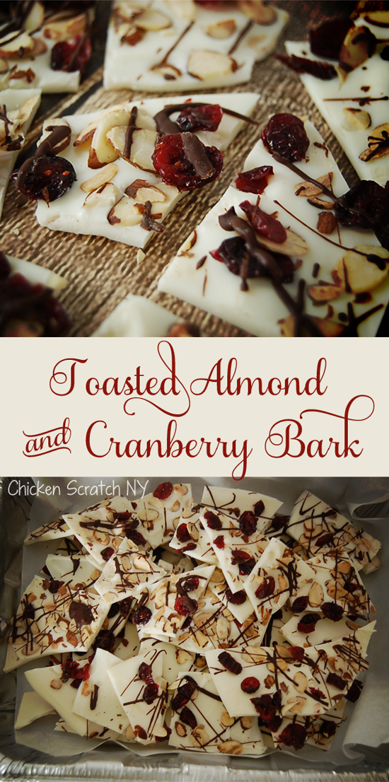 Whip up a pretty and festive Toasted Almond & Cranberry Bark drizzled with dark chocolate in minutes perfect for holiday gift giving or cookie trays
