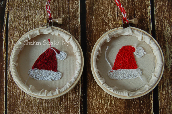 Santa Hat Punch Needle Ornament