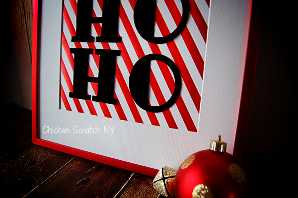 Combine luxurious suede paper, cheerful foil striped paper and a festive metallic frame for a HO HO HO Holiday Sign
