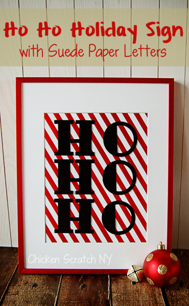 metallic red frame with striped foil paper and sude paper letters HO HO HO
