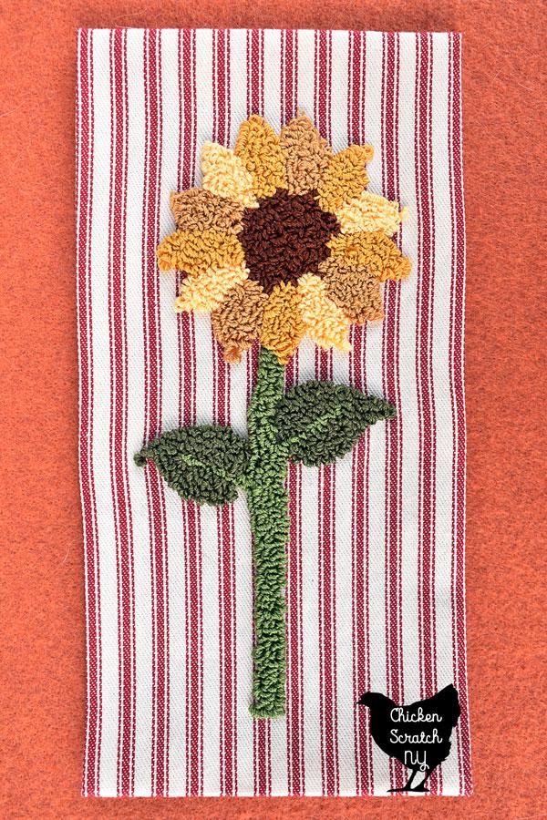 punch needle sunflower pattern