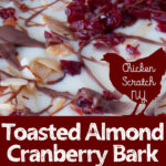 white chocolate, toasted almond, cranberry and dark chocolate drizzle