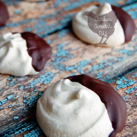 Chocolate Dipped Vanilla Orange Meringues