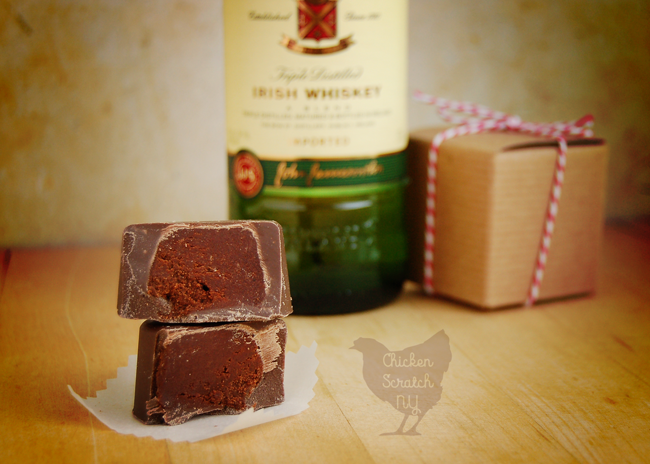 Whip up a batch of Whiskey Ganache Filled Chocolate Hearts for all your adult Valentines