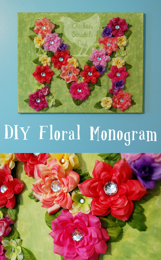 Decorate you walls with a bright and lively DIY Floral Monogram crafted on stretched canvas with fancy scrap booking brads