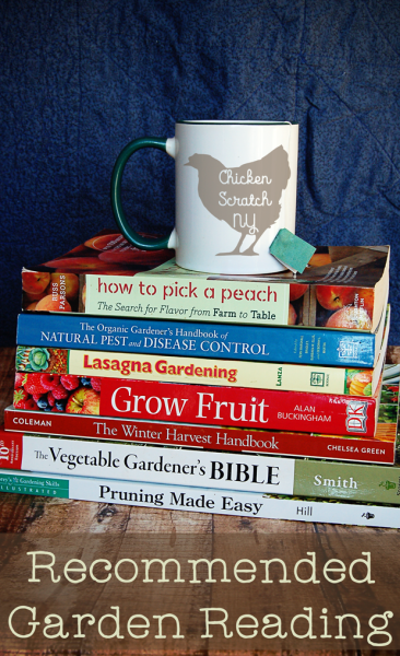 stack of garden related books