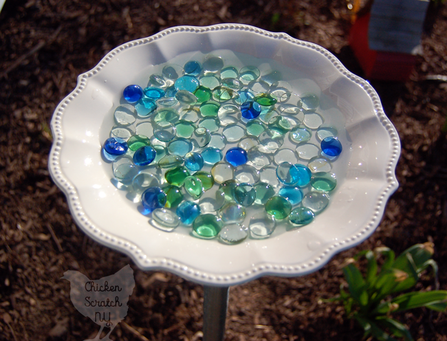 Turn a dinner plate into a pretty Bee & Butterfly Waterer in minutes with easy to find supplies