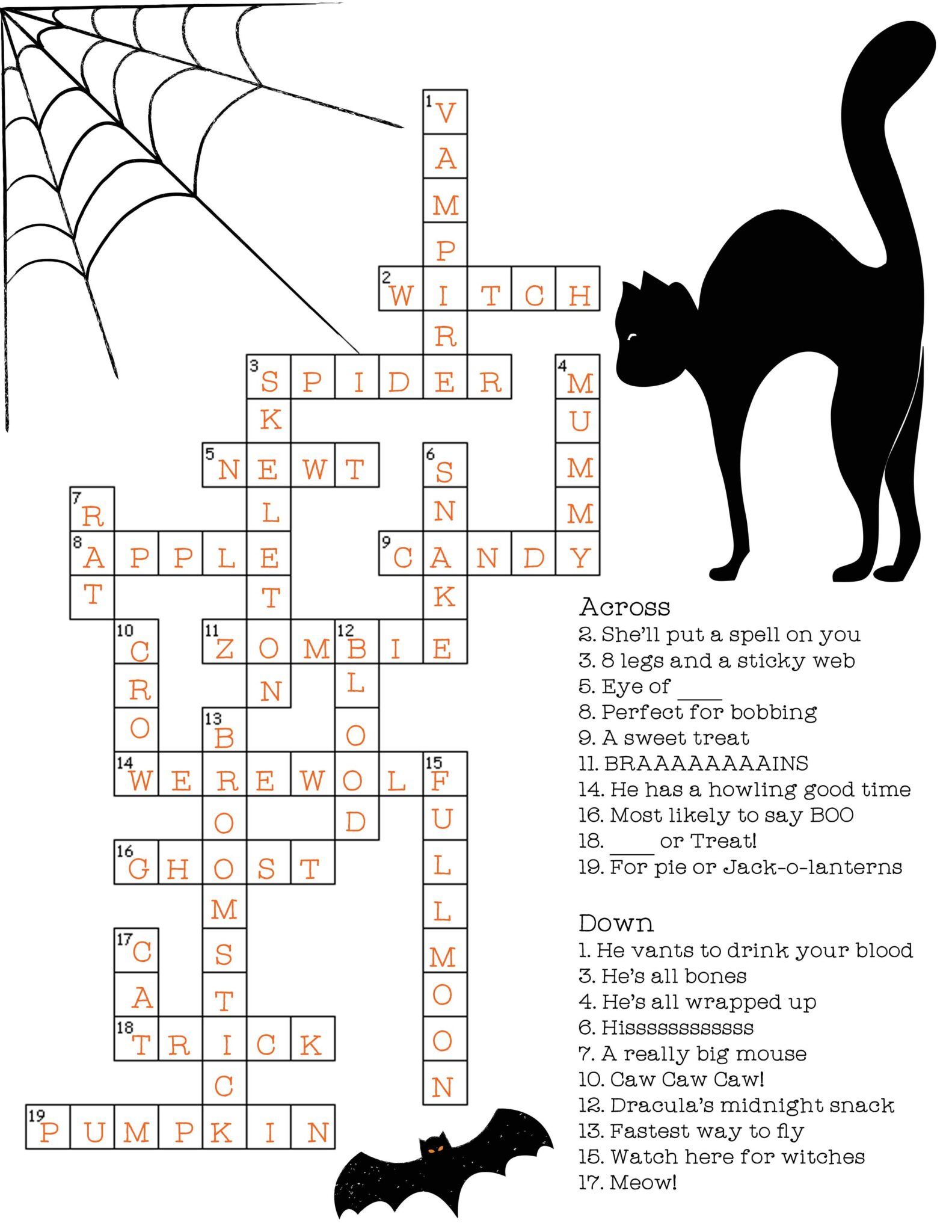 Free & Printable Halloween Crossword Puzzle with Key