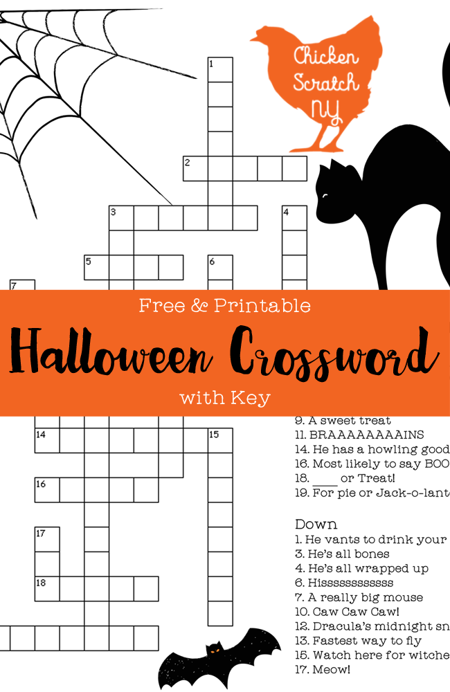 Free Printable Halloween Crossword Puzzle With Answer Key