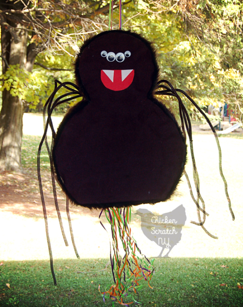 large home made furry spider pinata