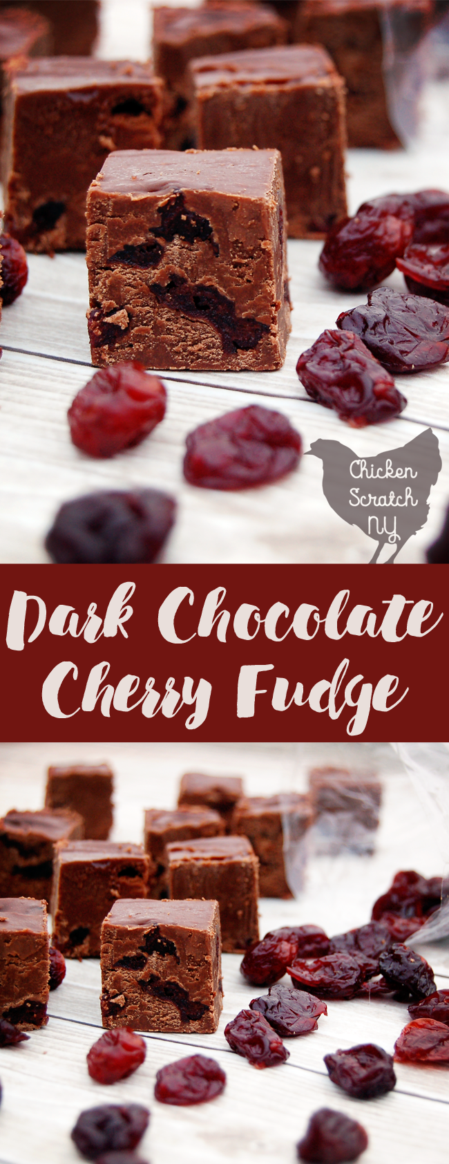 Whip up a decadent dark chocolate cherry fudge with this quick stove top recipe. Overflowing with tart cherries this sweet treat is sure to be a holiday hit