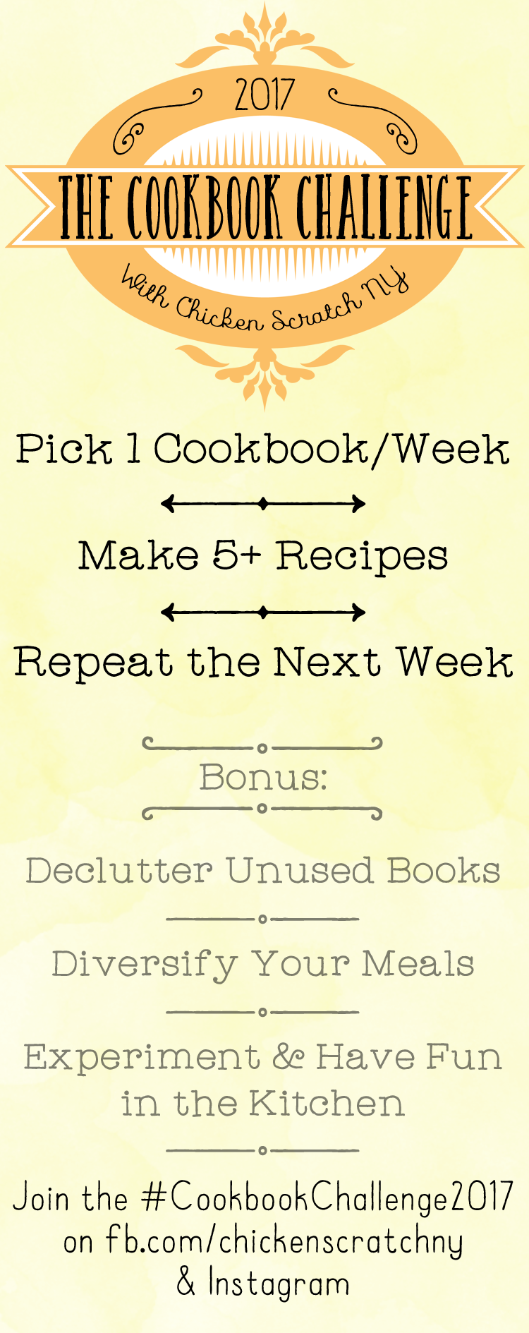 Declutter your bookshelves and diversify your meal plan while having fun in the kitchen with the 2017 Cookbook Challenge!