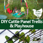 cattle panel bent into trellis for green beans over a turtle sandbox