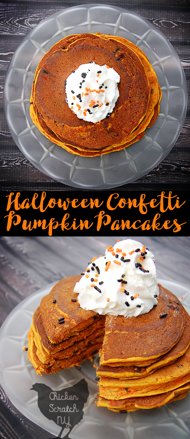 Pumpkin, Spice & everything nice come together for a Halloween breakfast treat of pumpkin pancakes jazzed up with black & orange sprinkle confetti