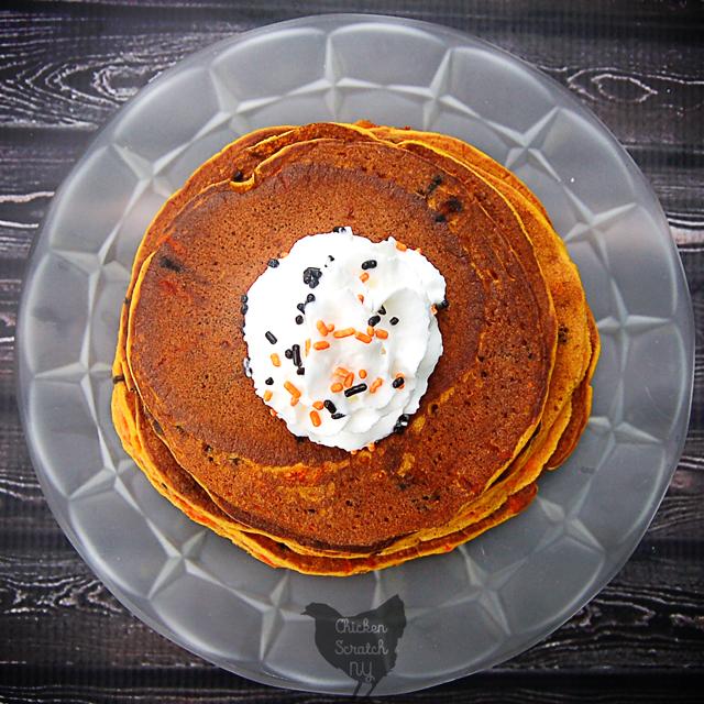 Halloween Confetti Pumpkin Pancakes