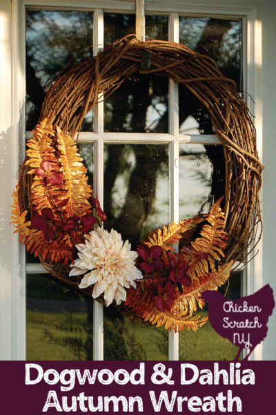 grapevine wreath on white front door with gold ferns, purple dogwood and a large white dahlia