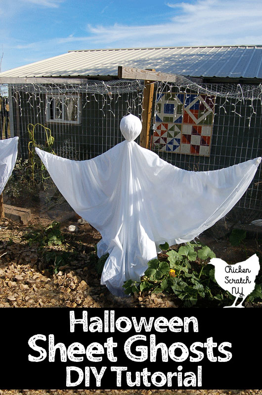 hanging ghost made from sheets and plastic bags