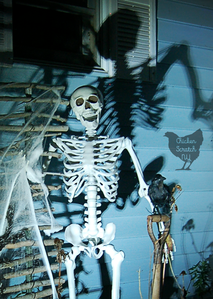Combine a few easy-to-find elements, zip ties and a spot light to create a spooky skeleton Halloween display to enjoy day and night