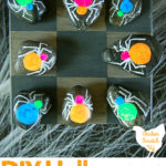 halloween tic tac toe game with DIY hand painted stones for game pieces
