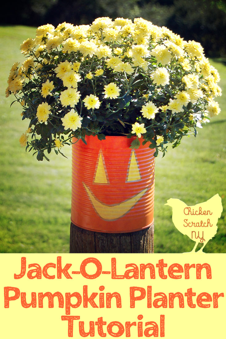 pumpkin planter made from reycled can and filled with yellow mums