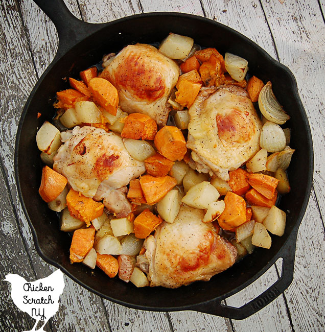 chicken dinner, cast iron recipe, sweet potato dinner
