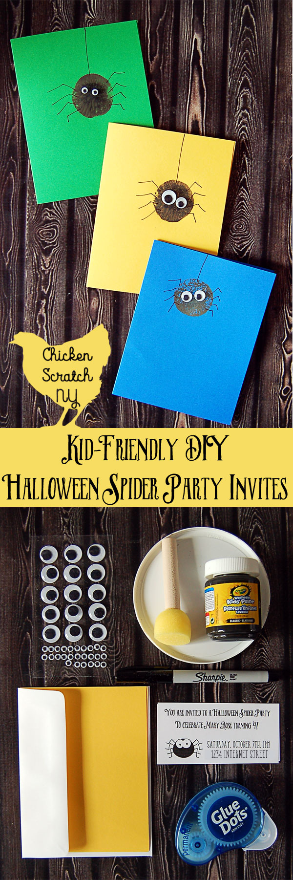 Halloween Party, Kid-friendly, spider party, party invitation, DIY