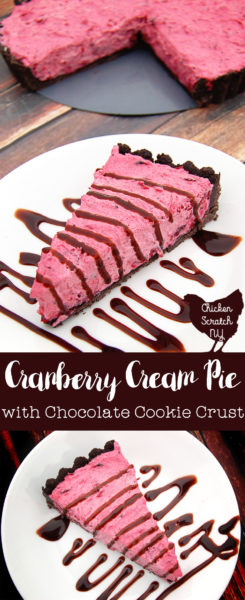 A sweet & tart no-bake Cranberry cream tart with a chocolate cookie crust is the perfect make ahead dessert
