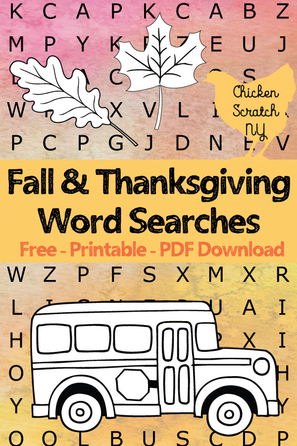 free printable pdf fall and thanksgiving word searches