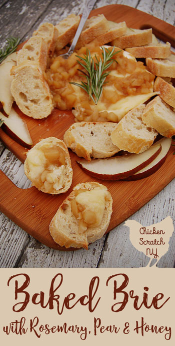 Top a round of warm baked brie with a chunky pear sauce made with fresh rosemary and honey. Serve with crusty bread or pear slices.