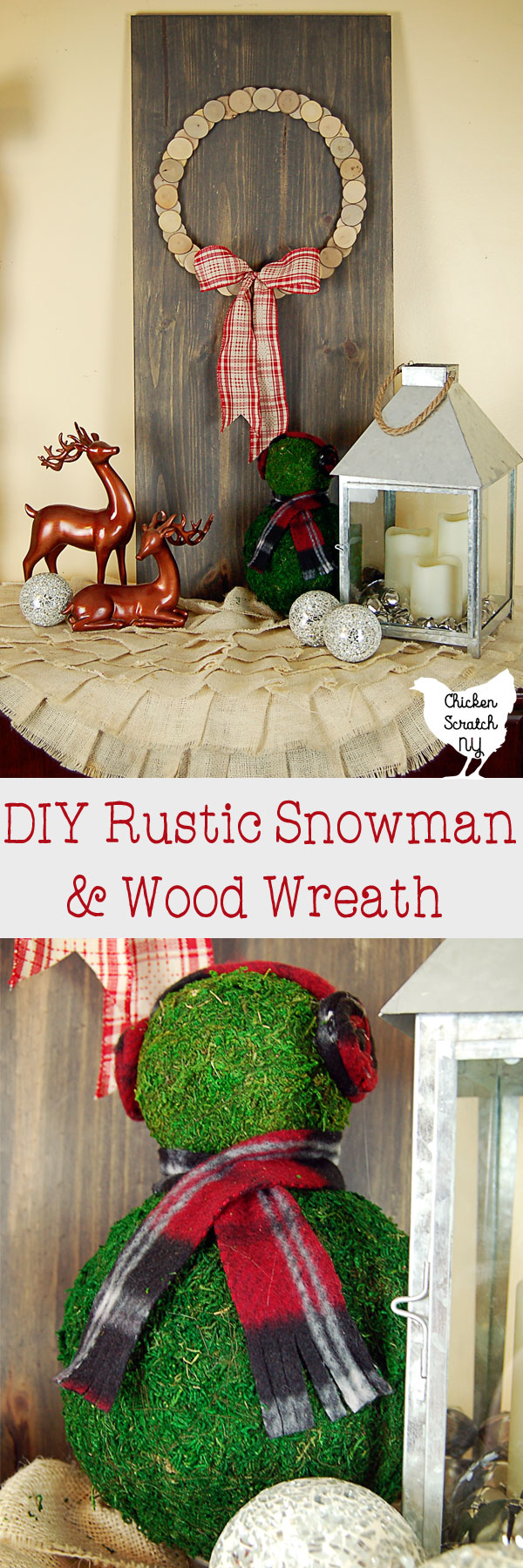 Decorate with a DIY rustic snowman and wood slice wreath for a simple display to carry you from Christmas though the winter season #rusticChristmas #ChristmasDIY #wreath Sponsored by Oriental Trading Company