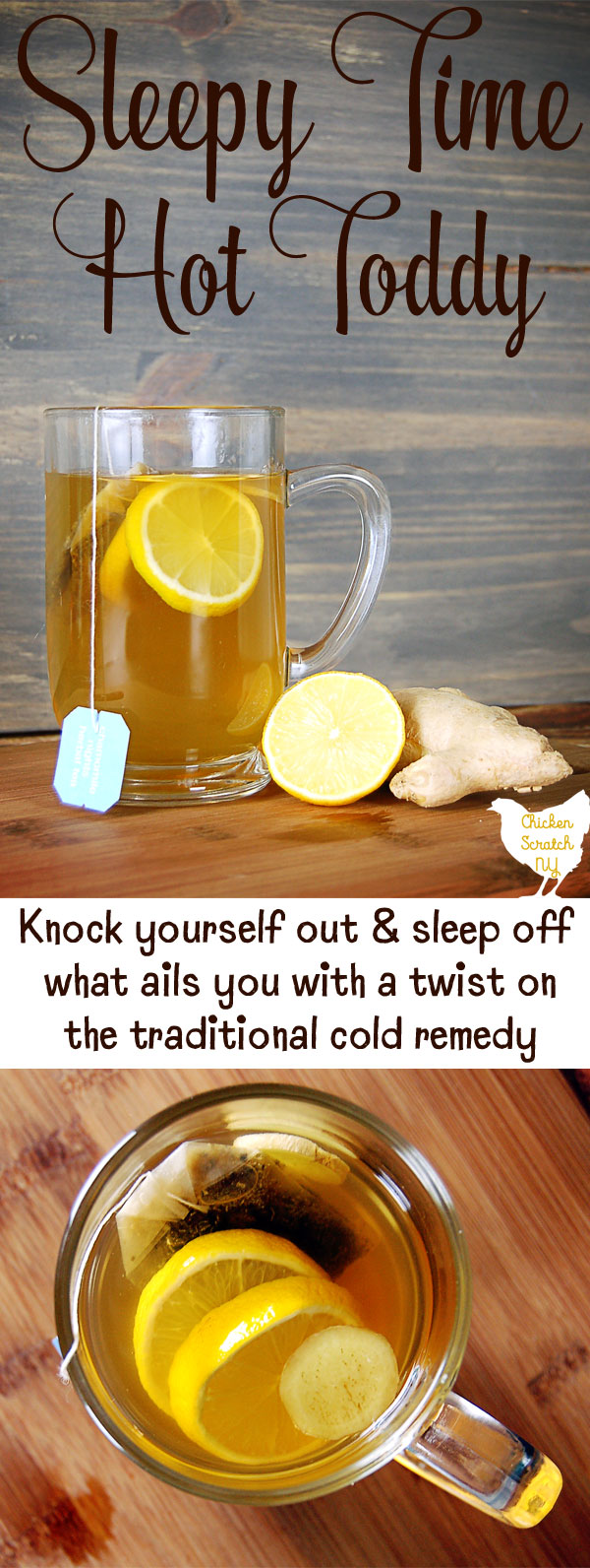 This twist on an old fashioned remedy may not cure your cold but it will certainly make it more bearable. Knock yourself out with a Sleepy Time Hot Toddy and sleep off what ails you