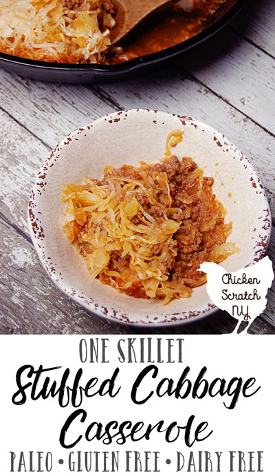 Turn a classic but tedious recipe into a quick, one skillet dinner with this recipe for Stuffed Cabbage Casserole. It's Paleo friendly, gluten free and dairy free too!