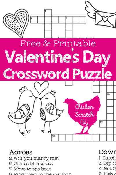 Clever image for valentine crossword puzzles printable
