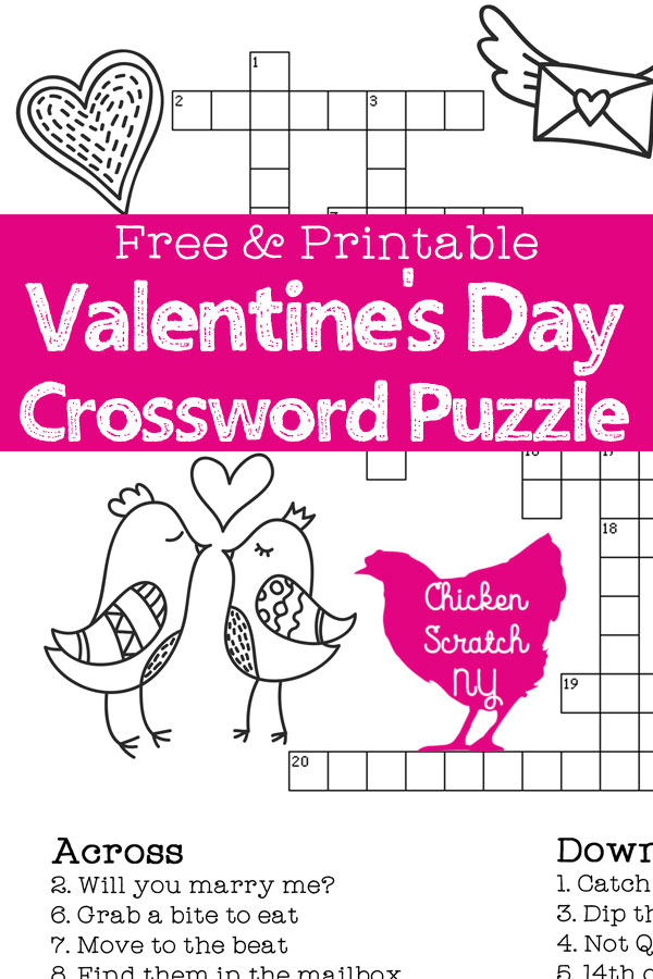 photograph relating to Valentine's Day Word Search Printable called Printable Valentines Working day Crossword Puzzle